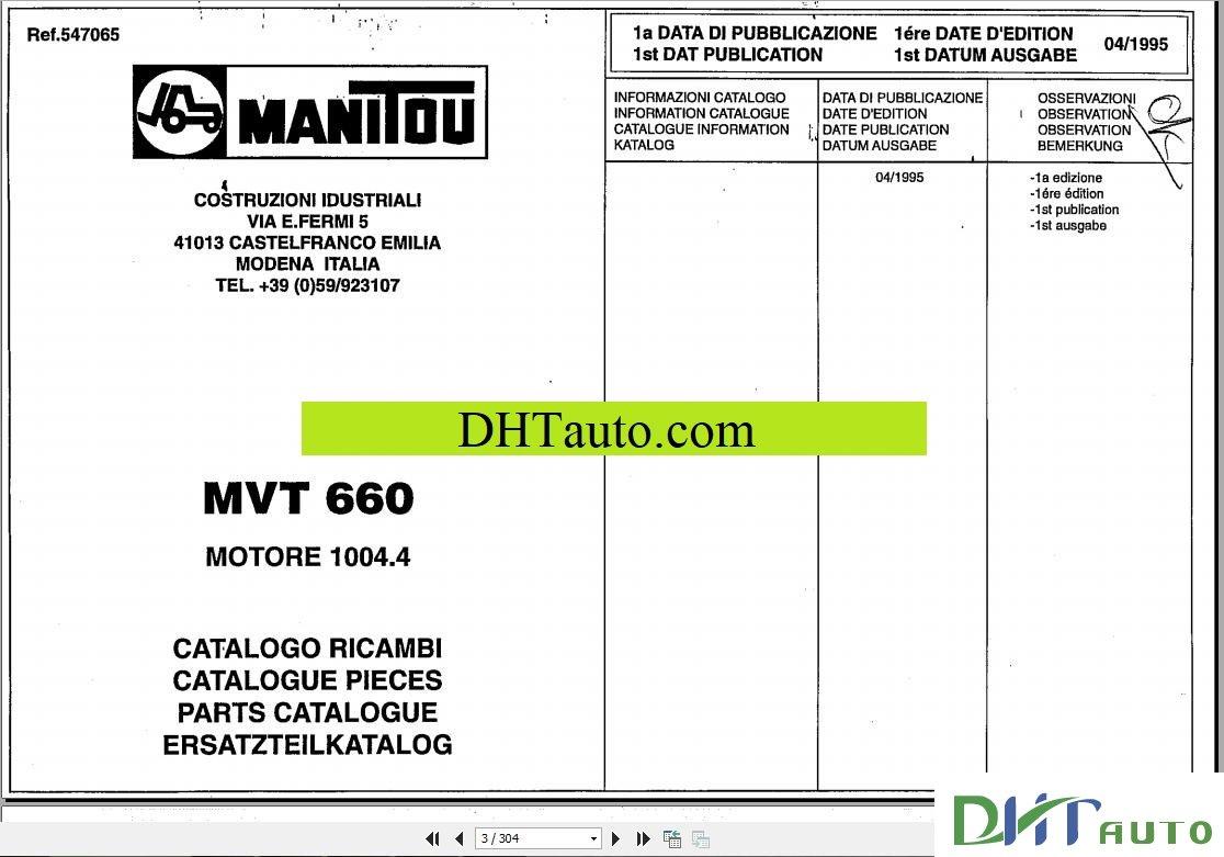 Manitou Forklift MVT930 47960 Parts Manual Manitou Forklift TMT 315, 320  547043DK Parts Manual Manitou Forklift TMT320,523 547043C Parts Manual  MANITOU MLT ...