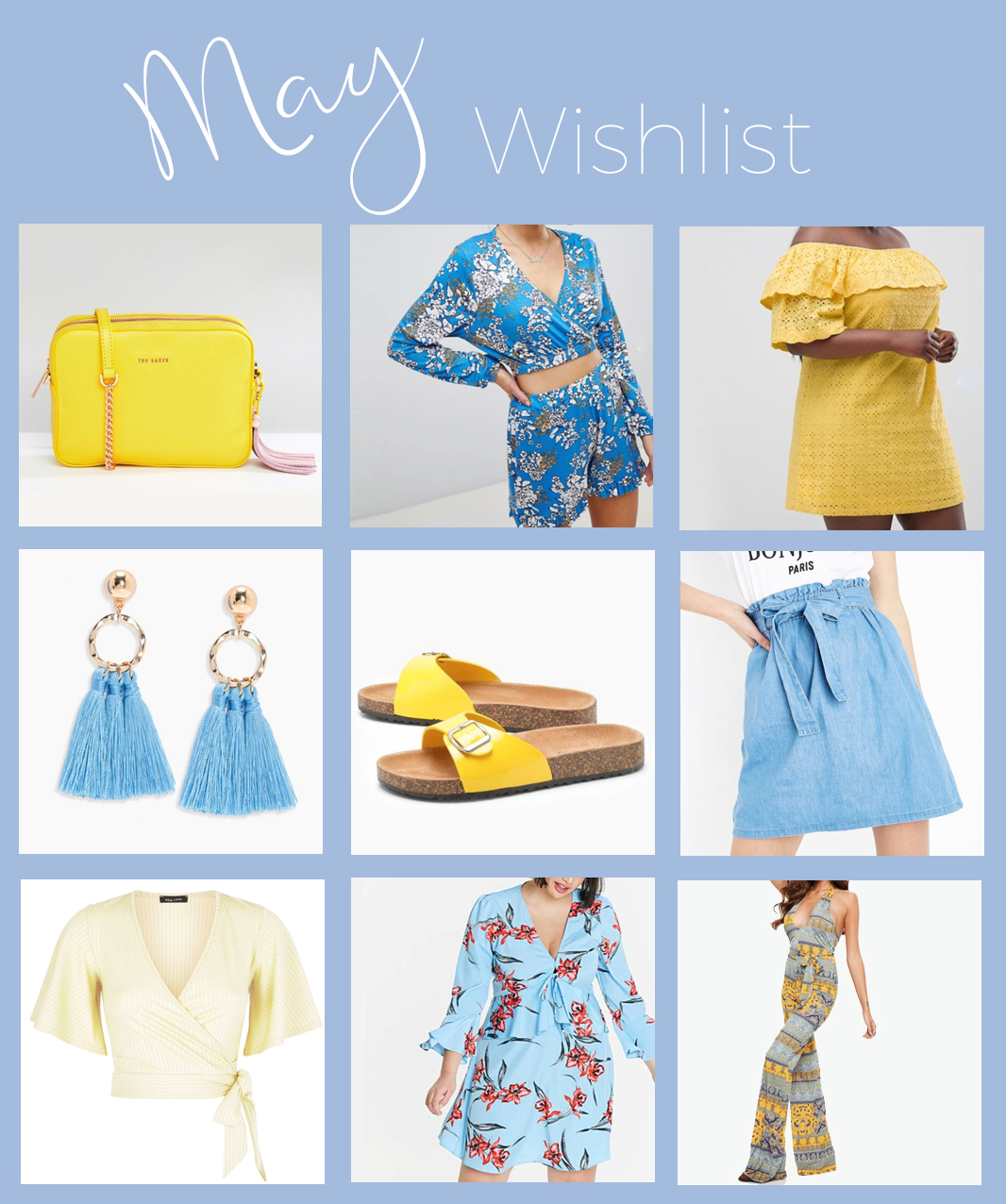 May wishlist blue and yellow