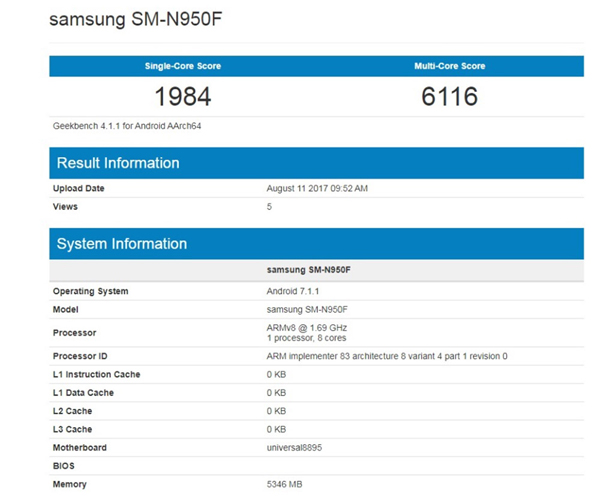 Samsung Galaxy Note 8 Benchmark - 1