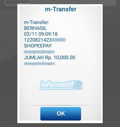 Transfer Virtual Account BCA Mobile - Berhasil Transfer