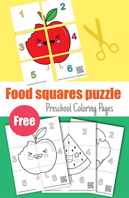 cute food squares puzzle coloring pages to print, free printable preschool coloring pages , free pages jpg download ,(apple, watermelon,ice cream,pineapple,cookie,pizza,strawberry,banana,pumpkin)