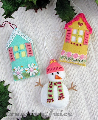 Lisa Hoel for Eileen Hull – felt Christmas ornaments made using Eileen's versatile Sizzix dies