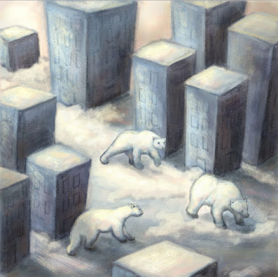 Illustration by Sylvia Liu. Dreamlike image: birds eye view of giant polar bears wandering through a stylized and deserted city scape (buildings are basically rectangular blocs), covered in snow. Colors are muted blues and pale yellows. Digital illustration that looks like pastels.