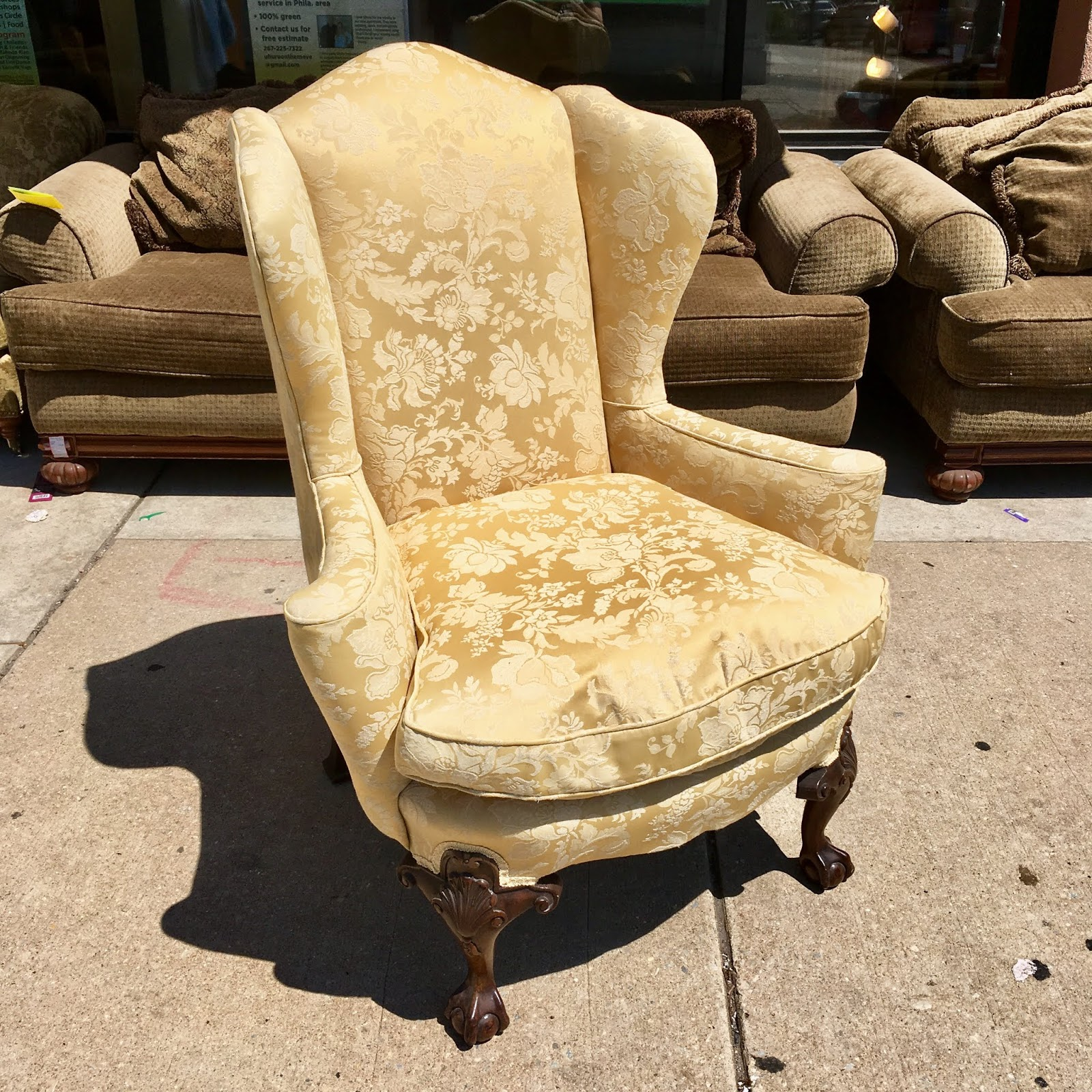 Floral Wingback Chair Uhuru Furniture And Collectibles Light Yellow Floral