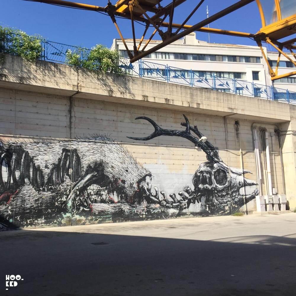 Belgian Street Artist Roa's mural in Campobasso, Italy