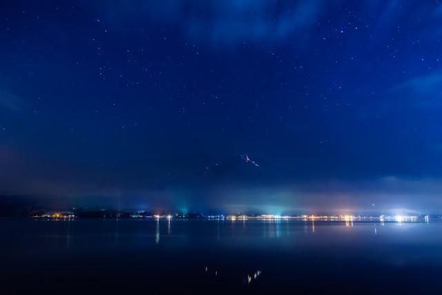 星空と夏富士~長池親水公園