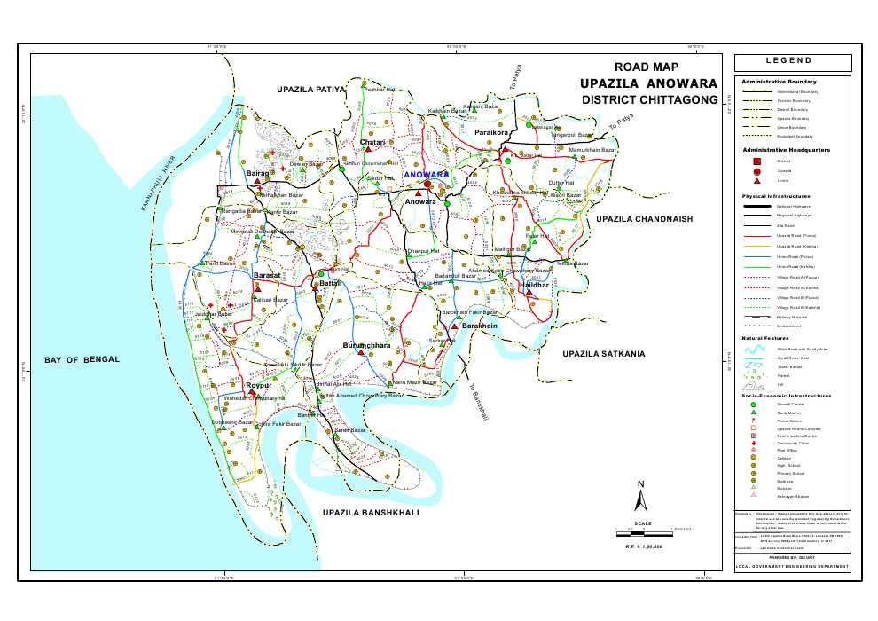 Anwara Upazila Road Map Chittagong District Bangladesh