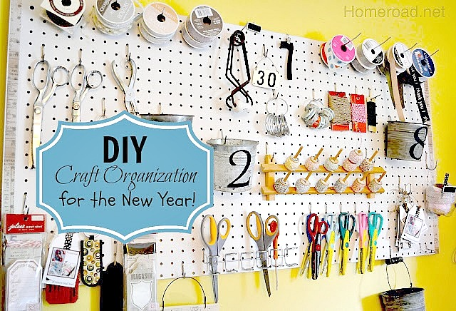 DIY organization using pegs and hooks