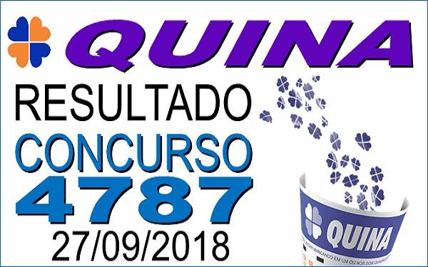 Resultado da Quina concurso 4787 de 27/09/2018 (Imagem: Informe Notícias)
