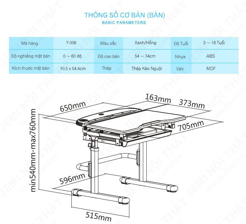 Mô tả kích thước bàn học cho bé, mô tả kích thước bàn