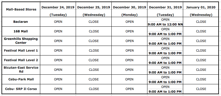 EastWest Bank Christmas holiday schedule