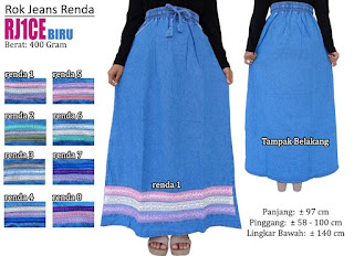Rok jeans panjang renda cantik untuk muslimah modern