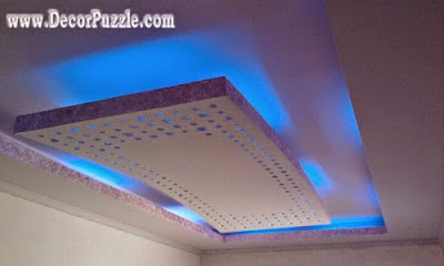 latest suspended ceiling, pop false ceiling design led lights 2019