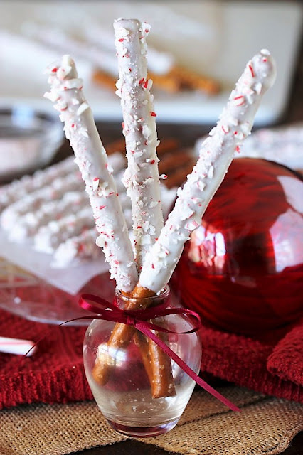 White Chocolate Pretzels with Candy Cane Sprinkles Image