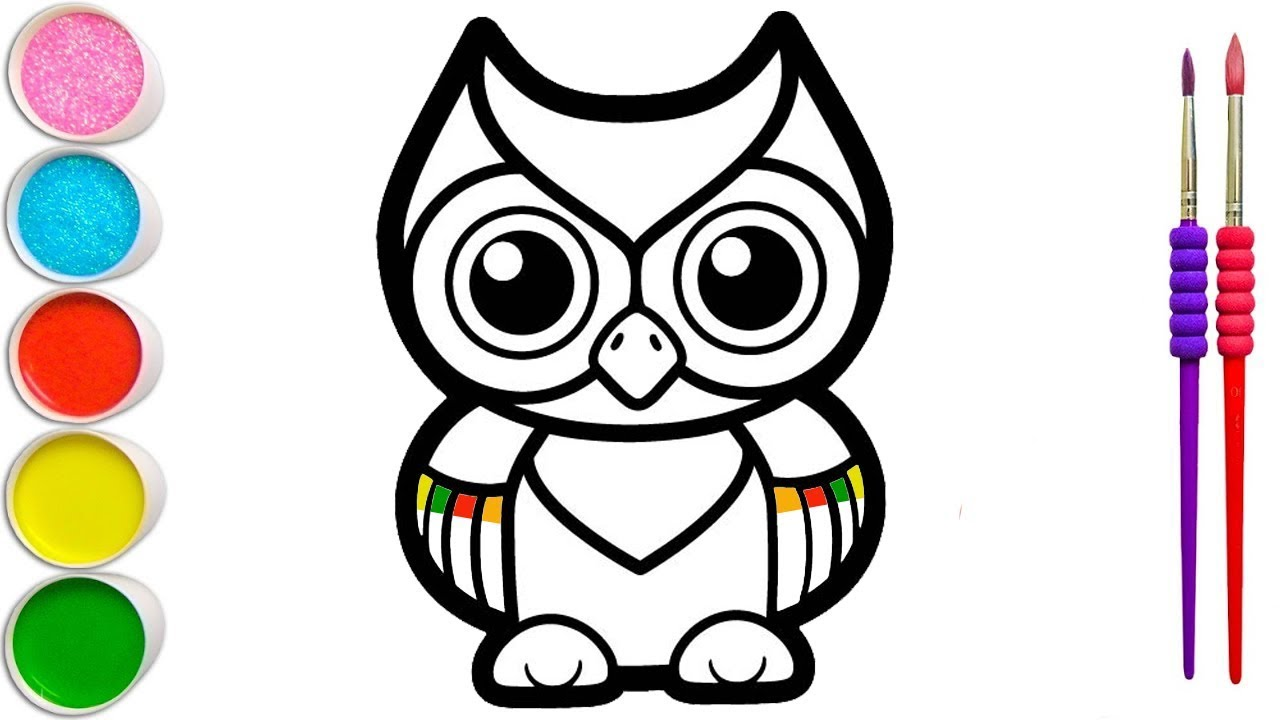How to Draw a Owl   Owl Coloring And Drawing For Kids, Toddlers