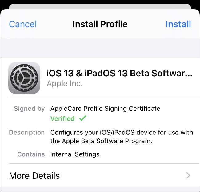 """خيار """"تثبيت الملف الشخصي"""" لنظامي iOS 13 و iPadOS 13 Beta."""