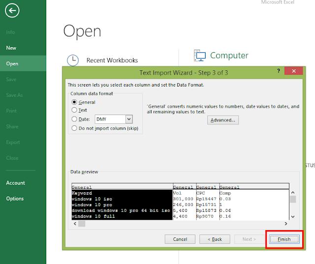 membuka file csv di excel