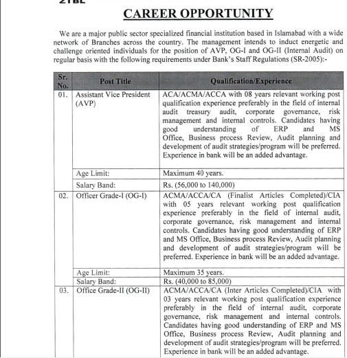 ZTBL Jobs 2019 For OG-I & OG-II | Zarai Taraqiati Bank Limited