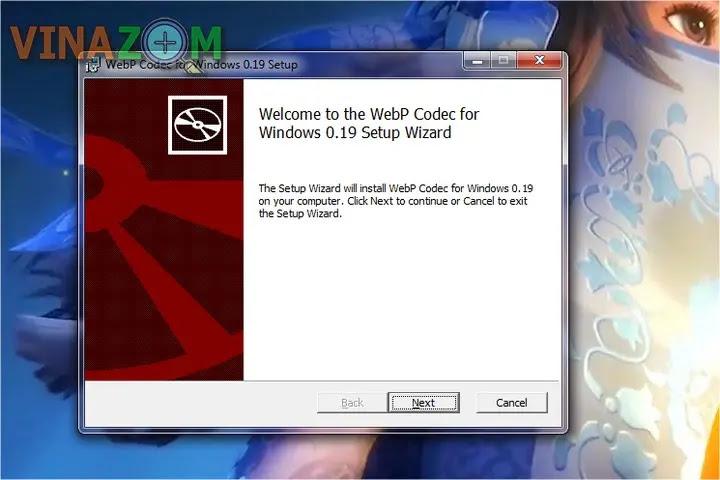 Cài đặt WebpCodecSetup bước 1