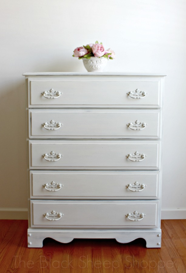 Chest of drawers painted in Old White.