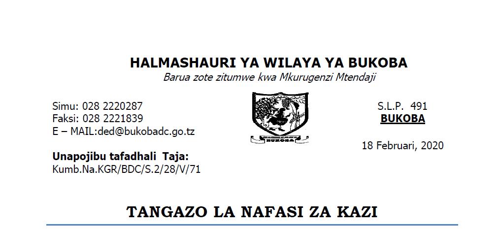 Tangazo la Nafasi za Kazi Halmashauri ya Wilaya ya Bukoba
