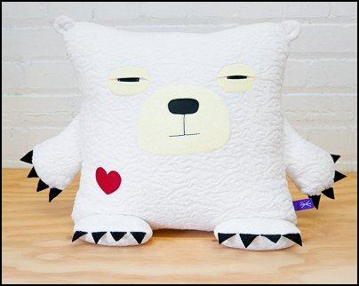 Polar bear pillow - White bear accent throw pet pillow portrait - Handmade decorative cushion