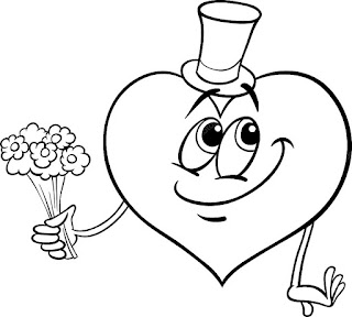דפי צביעה לב פרחים