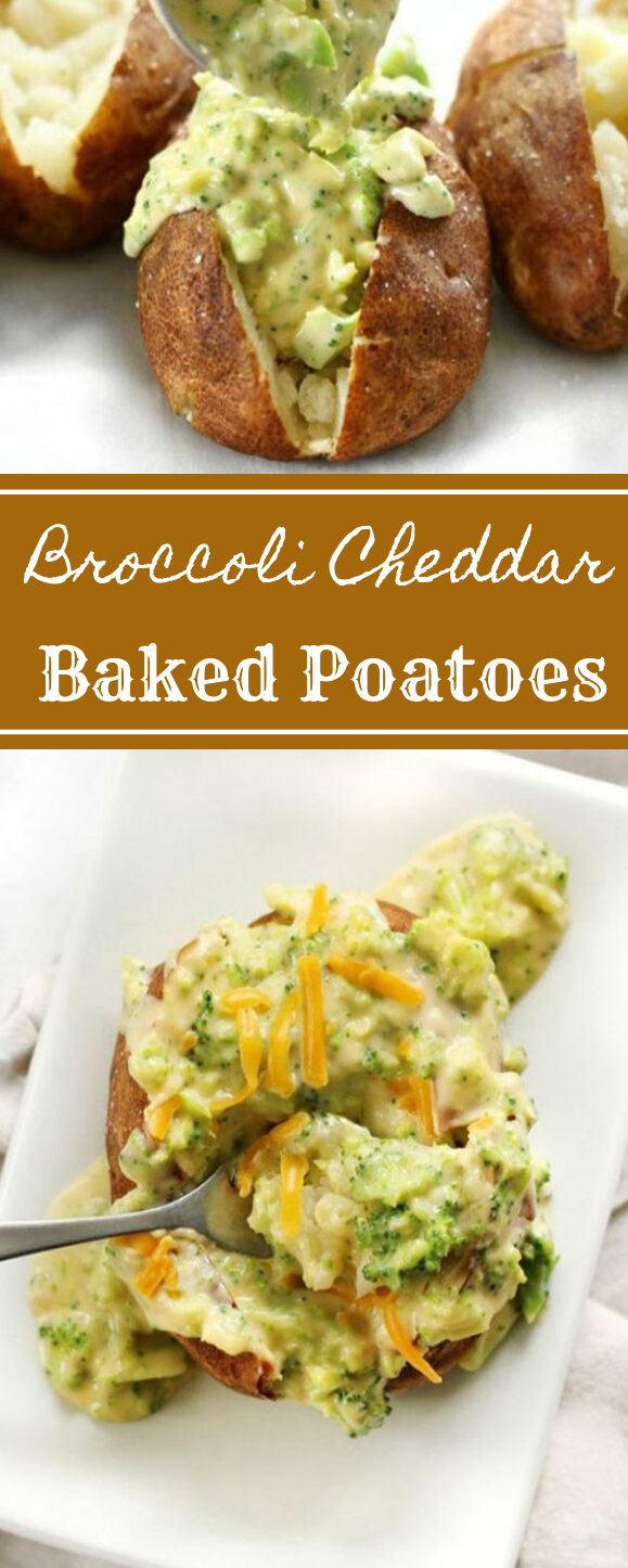 BROCCOLI CHEDDAR BAKED POTATOES #potato #vegetarian #easy #food #dinner