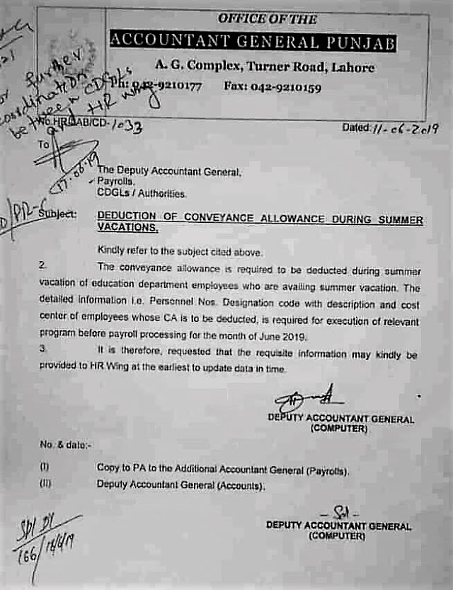 DEDUCTION OF CONVEYANCE ALLOWANCE OF EDUCATION DEPARTMENT EMPLOYEES DURING SUMMER VACATIONS