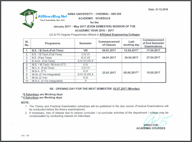 Anna University Academic Schedule 2017 & Updated Reopening date for colleges