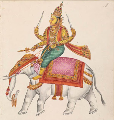Indra, il dio indù della guerra e dei temporali.