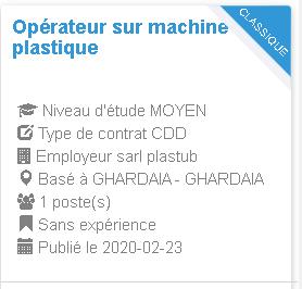 Opérateur sur machine de plastique Employeur sarl plastub