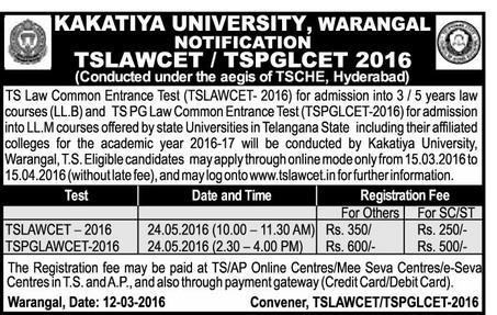 TS LAWCET,Schedule,Telangana LAWCET 2016