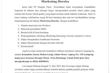 Lowongan Kerja Marketing Horeka PT Dragon Pack