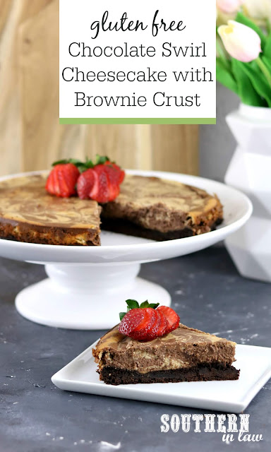 Easy Gluten Free Chocolate Swirl Cheesecake with Brownie Crust - gluten free, baked cheesecake, dessert