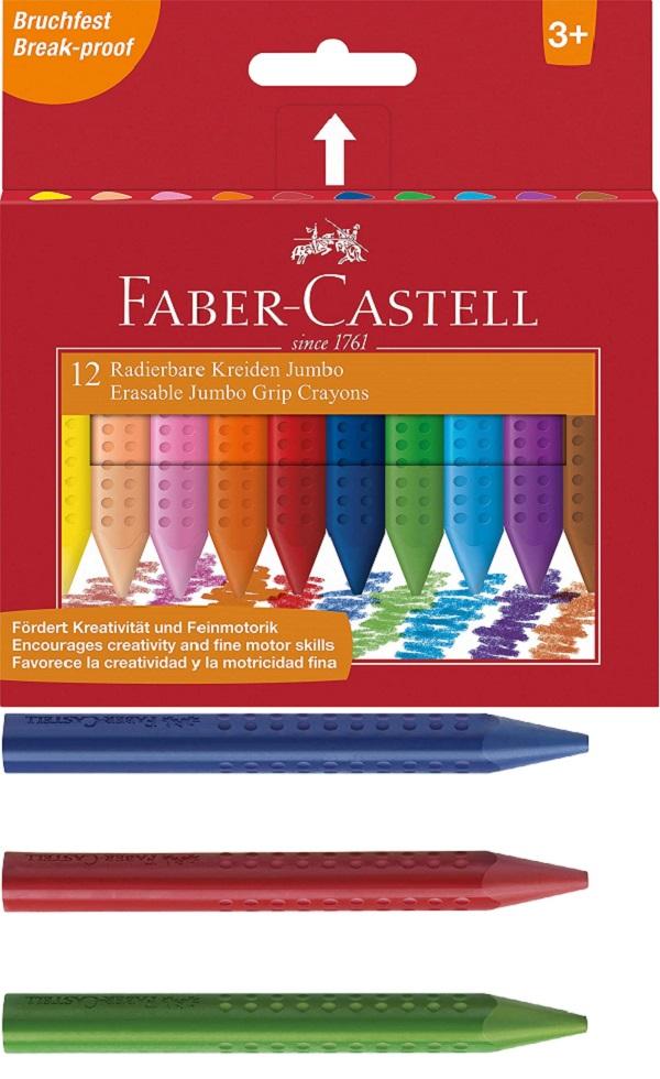 Детски пастели Faber Castell Jumbo Grip, Фабер Кастел, 12 Цвята