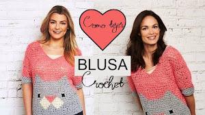 Patrones y Moldes de Blusa Crochet con Cuadros y Triángulos