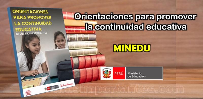 Orientaciones para promover las continuidad educativa de los las estudiantes