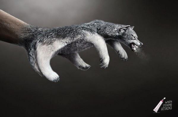 Lobo hecho con arte digital para anuncio publicitario impreso.
