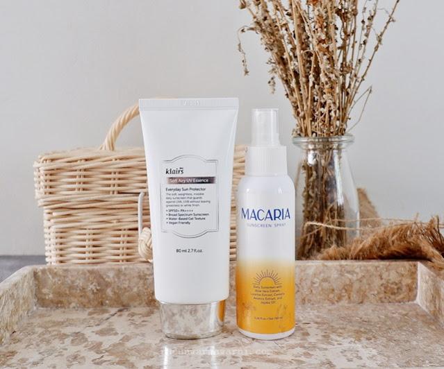 Klairs Soft Airy UV Essence & Macaria Sunscreen Spray