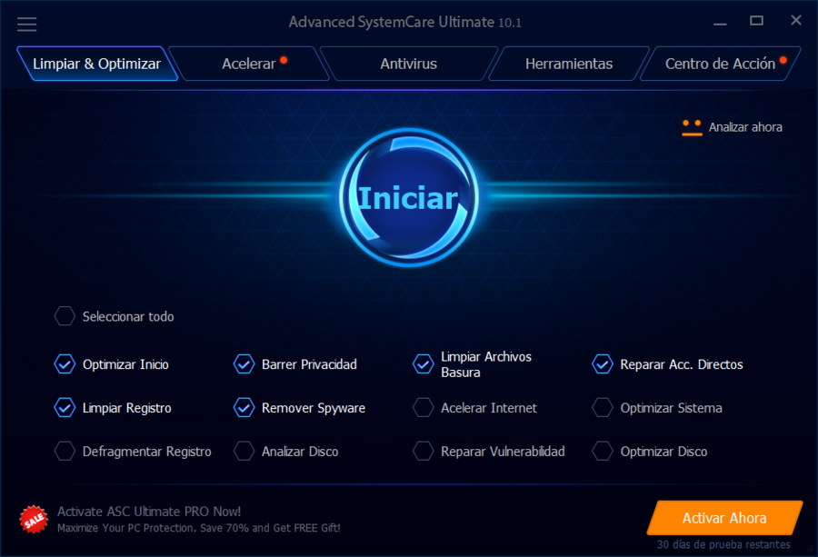 Optimizador Advanced SystemCare Ultimate 10