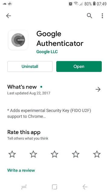 تطبيق google Athenticator