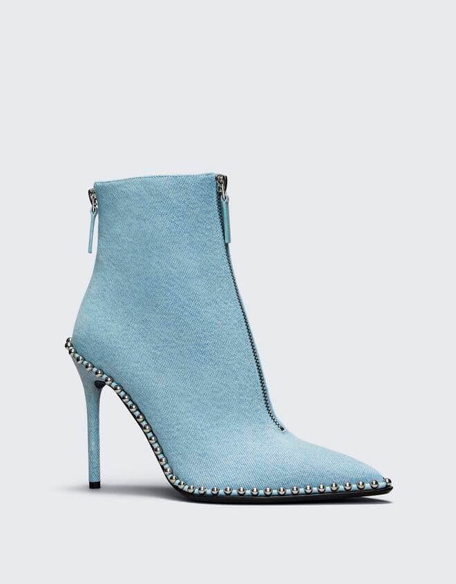 Baby Blue Denim Ankle Boots With Zippers and Pearls