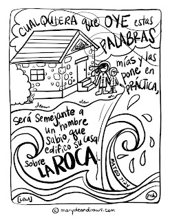 free bible coloring pages in spanish | A life on the rock + Matthew 7:24 Bible coloring page in ...