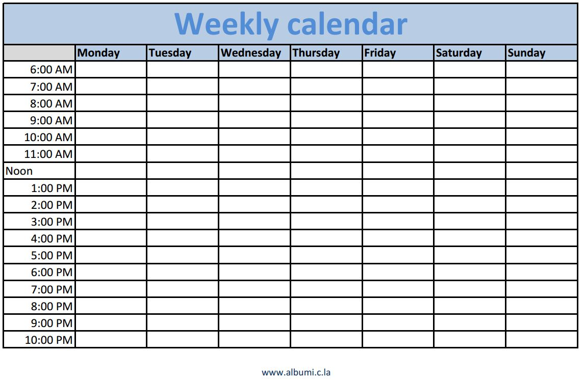 Weekly Calendar Template : Weekly calendars with times printable