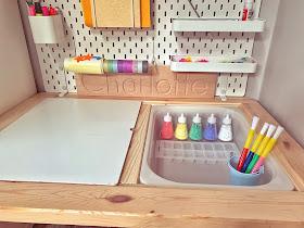 powder paint in salt shaker pots ikea flisat desk