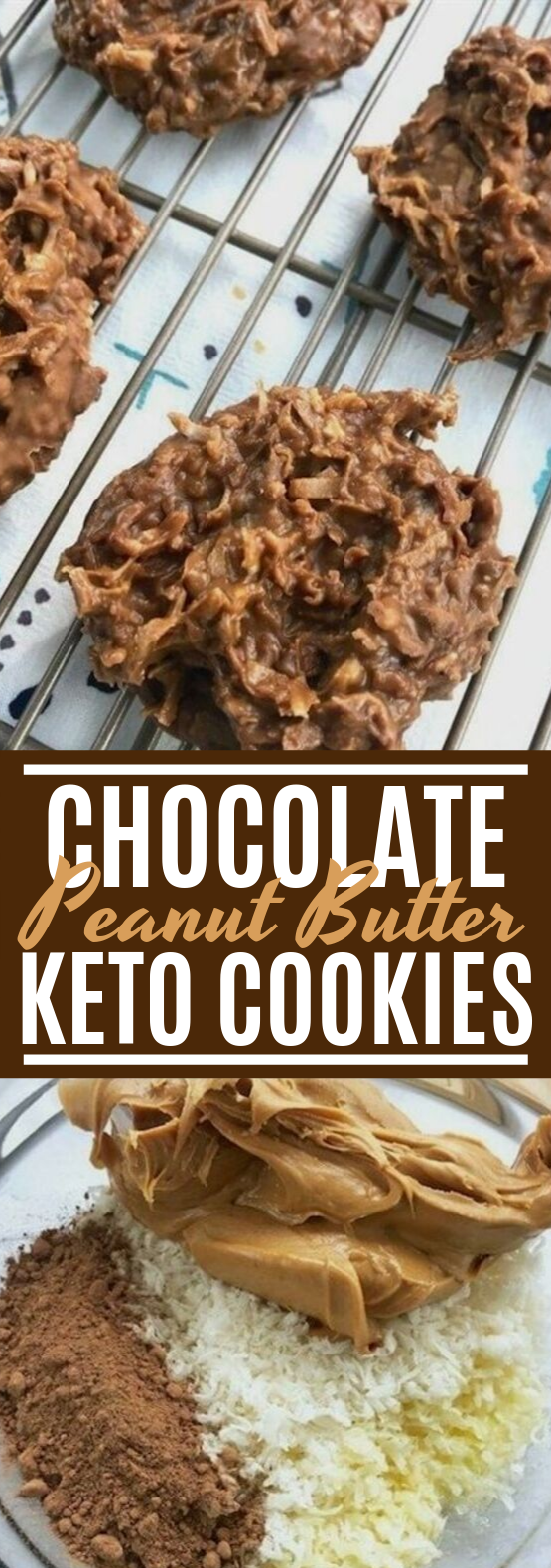 Chocolate & Peanut Butter Keto No Bake Cookies  #keto #lowcarb