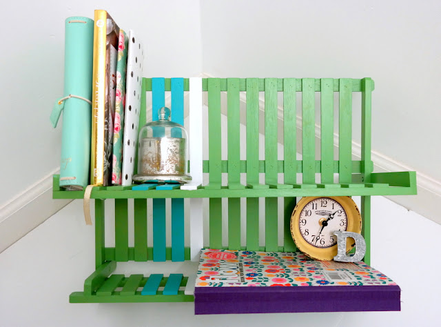 DIY Painted Dish Rack Bookshelf by Dana Tatar