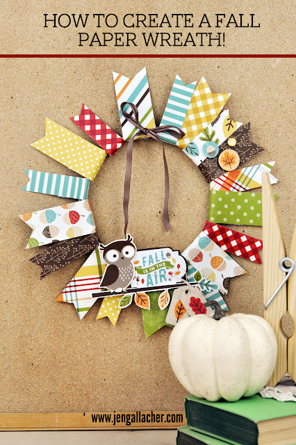 How to create a fall paper wreath with www.jengallacher.com. #autumn #papercraft #fallcraft